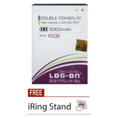 Log On Baterai Evercoss R50A / R50B - Double Power Battery - 5000 mAh + Free i-Ring Stand