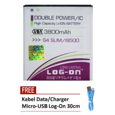 Log On Baterai Samsung S4 Slim (S4 Replika) / i9500 - Double Power Battery - 3800 mAh + Free Kabel Micro-USB Flat Original Log-On 30cm