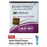Log On Baterai Smartfren Andromax C3 C3S Double Power 2800 Mah Free Kabel Micro Usb Flat Original Log On 30Cm Log On Diskon 40
