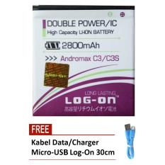 Promo Log On Baterai Smartfren Andromax C3 C3S Double Power 2800 Mah Free Kabel Micro Usb Flat Original Log On 30Cm Akhir Tahun