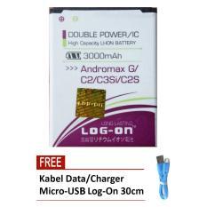 Jual Log On Baterai Smartfren Andromax G C2 C3Si C2S Double Power 3000 Mah Free Kabel Micro Usb Flat Original Log On 30Cm Dki Jakarta