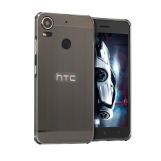 Logam Bumper dan Gambar Kawat PC Back Cover untuk H TC Desire 10 Pro (Hitam)-Intl