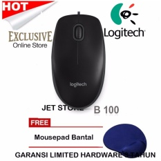 Logitech B100 Optical Mouse Original - Hitam + Mouse Pad bantal..