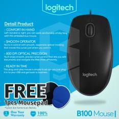 Logitech B100 Optical USB Mouse - Hitam