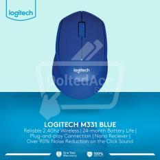 Beli Logitech M331 Silent Wireless Mouse Biru Nyicil
