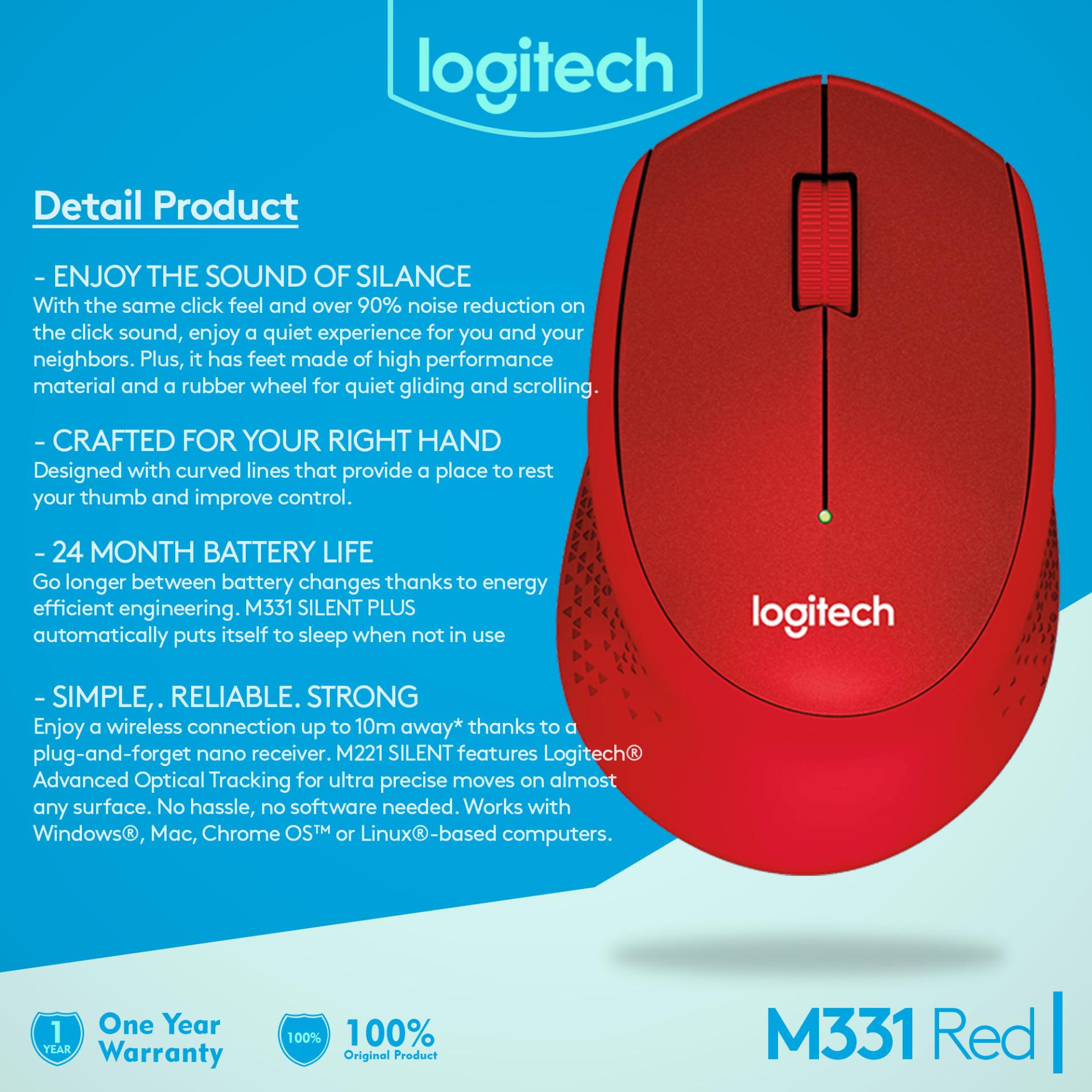 Harga Logitech M331 Silent Wireless Mouse Original Merah Origin