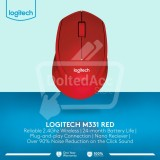Jual Logitech M331 Wireless Mouse Merah Antik