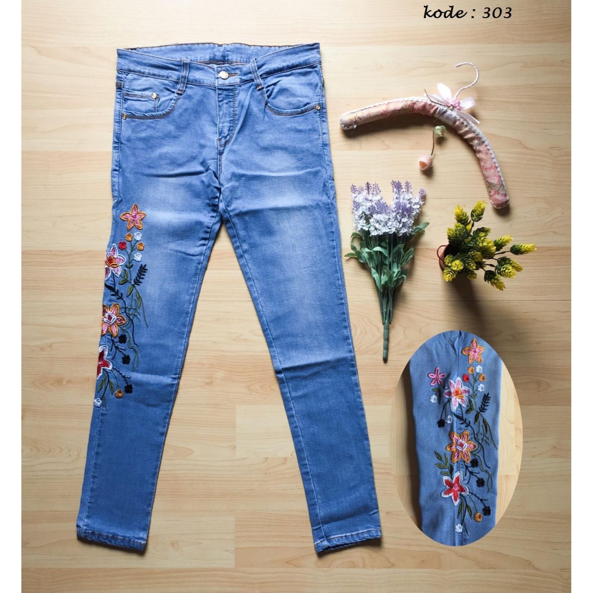Harga Lolile Celana Jeans Bordir Bunga 303 Size Besar 31 34 Lainnya Original