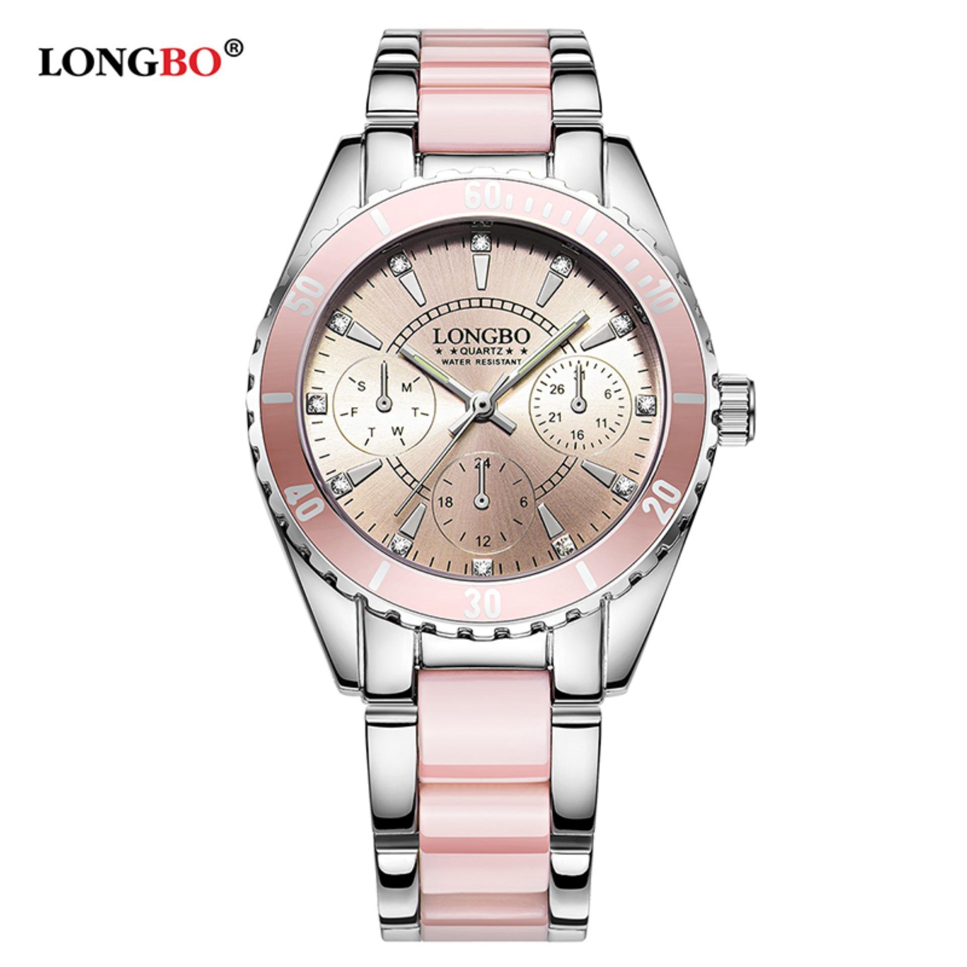 LONGBO Fashion Kasual Keramik Watchband Kasual Anolog Wanita Wanita Cewek Lihat Jam Tangan 80303L-Intl