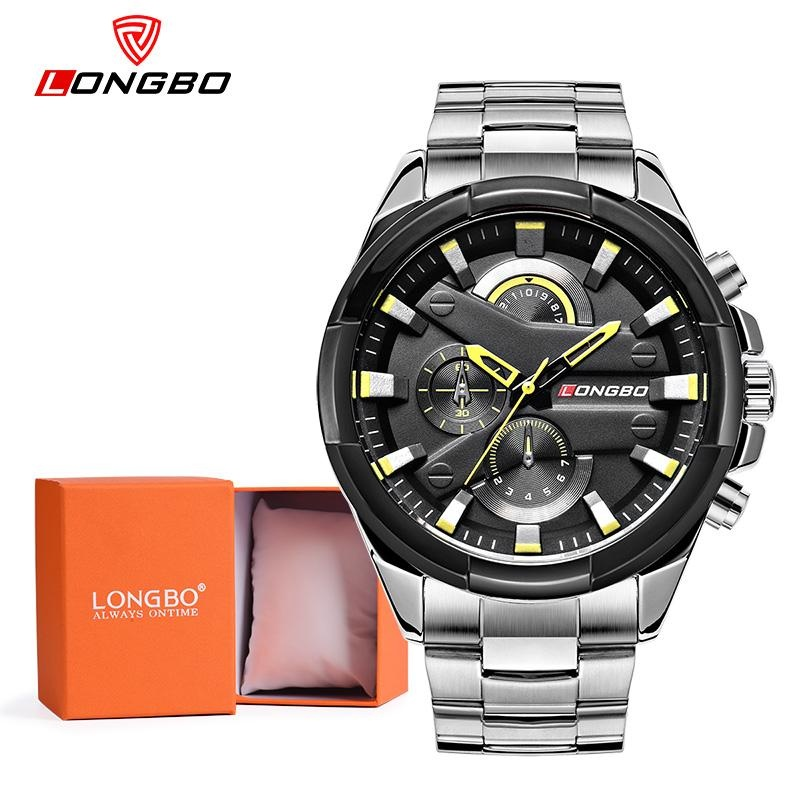 Harga Longbo Man Fashion Stainless Steel Strap Sport Bisnis Casual Quartz Watch Untuk Mans Fashion 80242 Watch Gift Box Intl Yang Murah