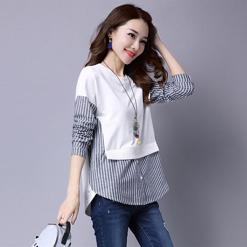 Jual Longgar Adalah Jahitan Tipis Palsu Dua Bottoming Kemeja Korea Fashion Style Sweater Putih Putih Import