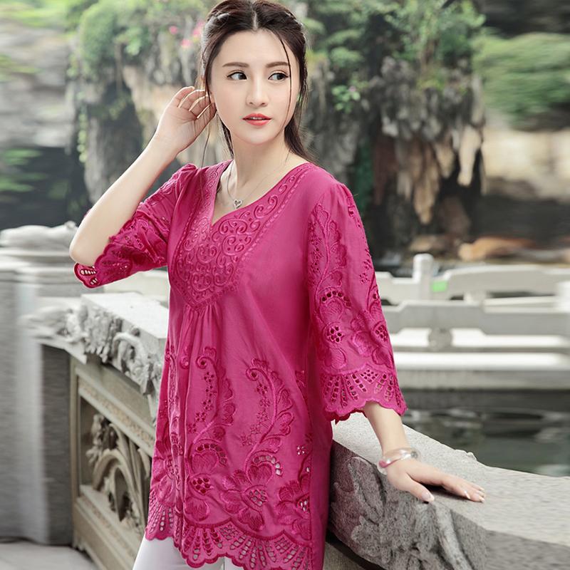 Promo Longgar Kapas Angin Nasional Perempuan Bordir Bunga Kemeja Daging Mawar Merah Mawar Merah Baju Wanita Baju Atasan Kemeja Wanita Di Tiongkok