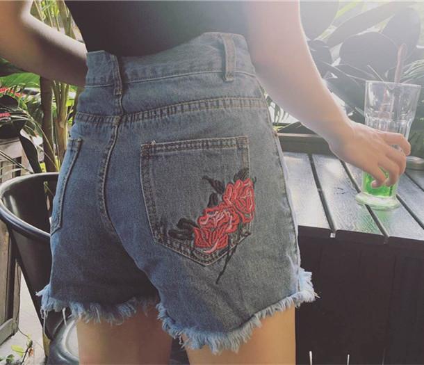 Toko Longgar Korea Fashion Style Bordir Musim Semi Celana Wanita Celana Pendek Denim Biru Baju Wanita Celana Wanita Celana Jeans Wanita Online Di Tiongkok