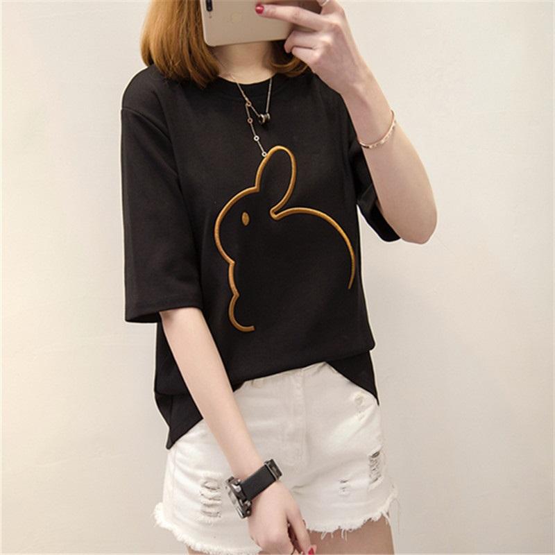 Beli Longgar Korea Fashion Style Bordir Siswa Perempuan Bawahan Atasan T Shirt 1349 Hitam Murah Tiongkok