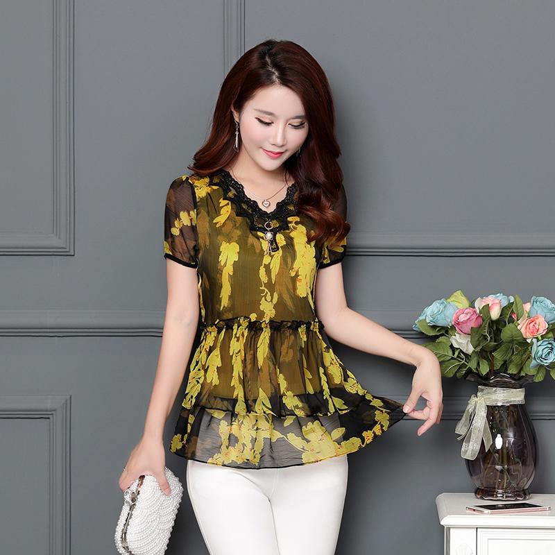 Beli Longgar Korea Fashion Style Bunga Kemeja Sifon Baru Lengan Atasan Kuning Oem