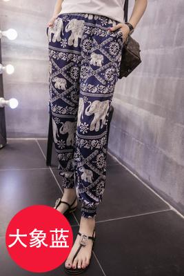 Longgar Korea Modis Gaya Celana Jersey Rayon Musim Panas Bagian Tipis Sembilan Poin Celana (Sutra Bahan Gajah Biru)