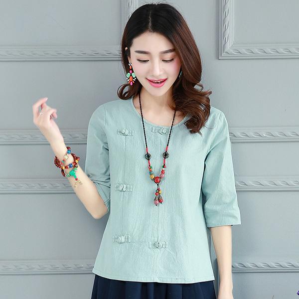 Longgar Korea Fashion Style Kain Linen Perempuan Baru Sepatu Linen Kemeja T Shirt Biru Baju Wanita Baju Atasan Kemeja Wanita Tiongkok Diskon 50
