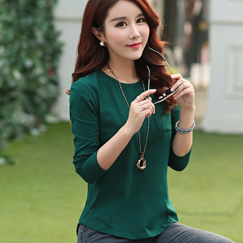 Toko Longgar Korea Fashion Style Warna Solid Lengan Panjang T Shirt Baju Dalaman Hijau Gelap Di Tiongkok