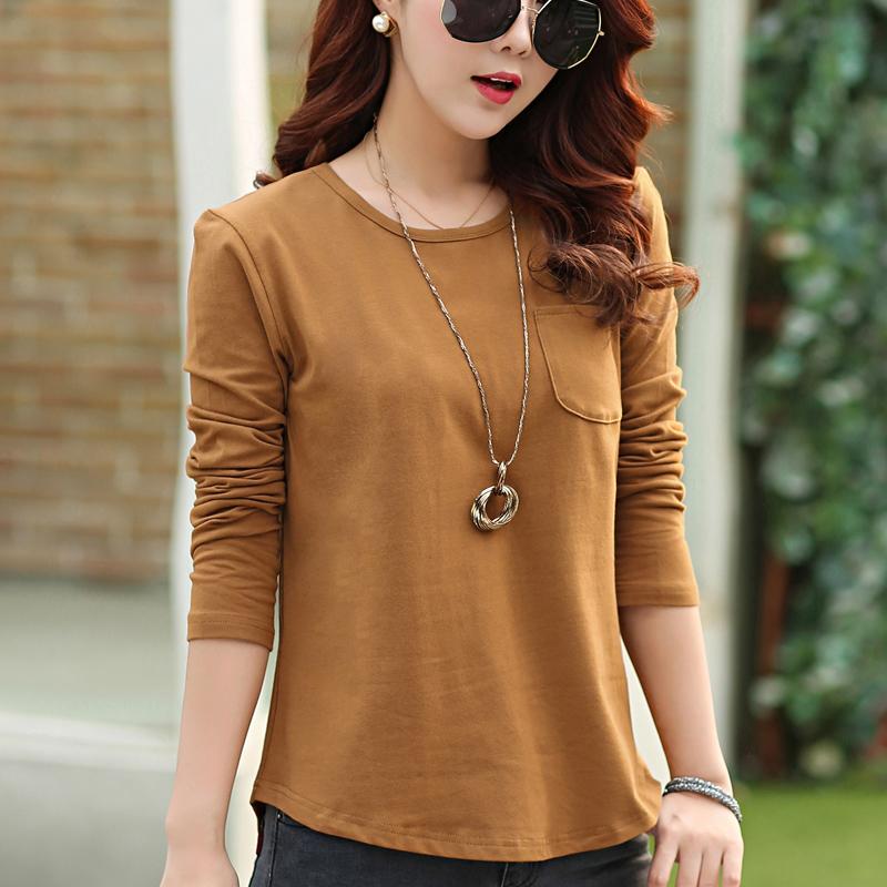 Promo Longgar Korea Fashion Style Warna Solid Lengan Panjang T Shirt Baju Dalaman Khaki Di Tiongkok