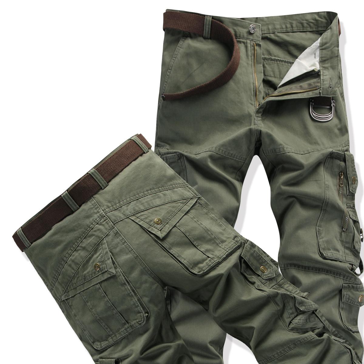 Longgar Luar Rumah Pria Kasual Baju Militer Panjang Celana Pakaian Pria Kasual Celana Celana (Hijau Tentara Warna)