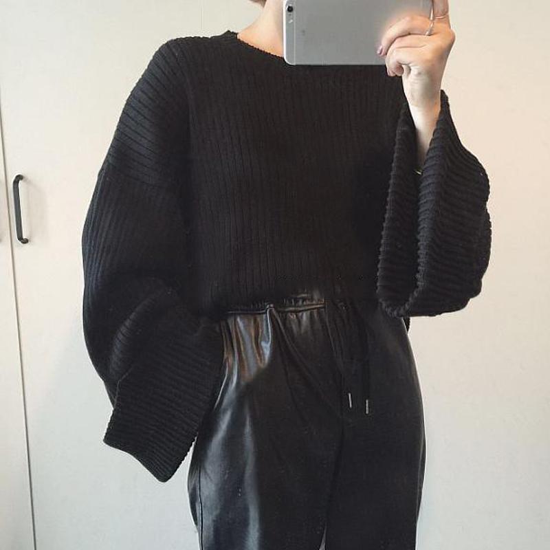Spesifikasi Longgar Perempuan Model Musim Gugur Warna Solid Pullover Kemeja Rajut Sweter Hitam Murah Berkualitas