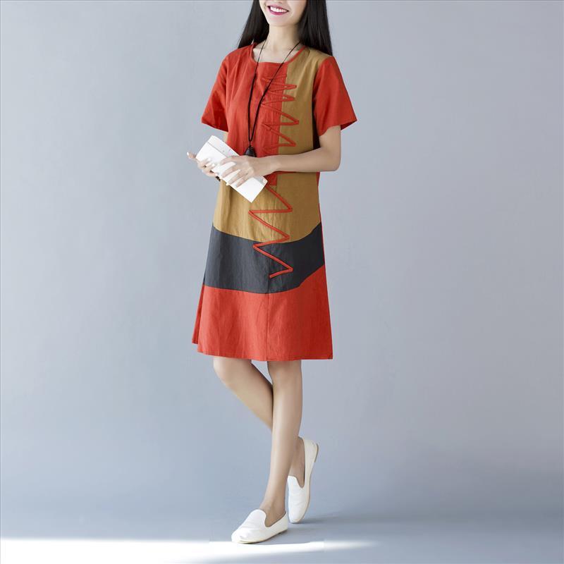 Dimana Beli Longgar Sastra Patch Yang Baru Gaun Warna Mantra Oranye Oranye Oem