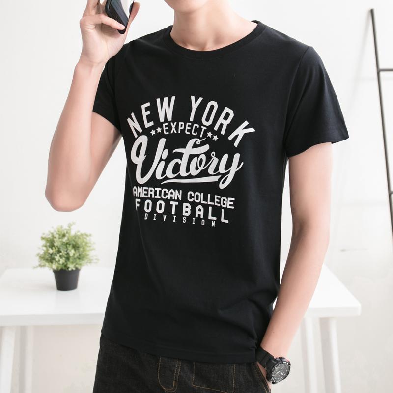 Beli Pasang Longgar Leher Bulat T Shirt Musim Panas T Shirt Hitam New Online Murah