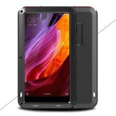 LOVE MEI untuk Xiaomi Mi campuran kuat Mobile case logam + silikon + Tempered Kaca bahan Drop-bukti Tahan Guncangan debu-bukti - hitam