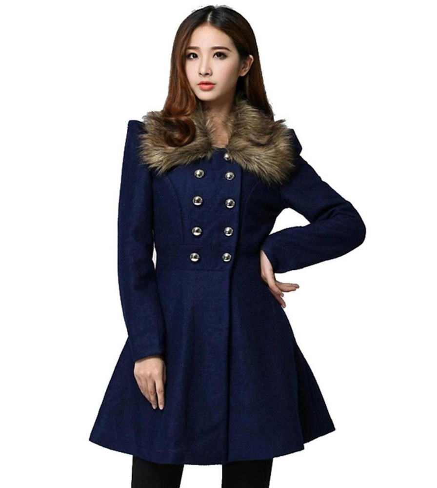 Promo Low Profit Sunweb Women Slim Double Breasted Coat Parka Woollen Fur Colar Long Overcoat Dark Blue Intl Hong Kong Sar Tiongkok