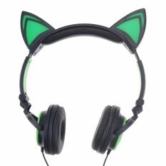 [Harga Terendah] Lipat Berkedip Telinga Bercahaya headphone Gaming Headset Earphone dengan Lampu LED untuk PC Laptop Komputer Ponsel Headphone-Intl