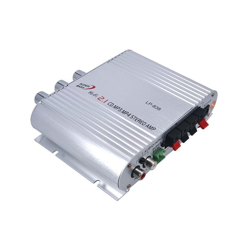 LP-838 2.1 Hi-fi CD MP3 MP4 Stereo Amp Auto Mobil Motor Home Audio Stereo Bass Speaker Amplifier Boostrer Player DC 12 V 200 W