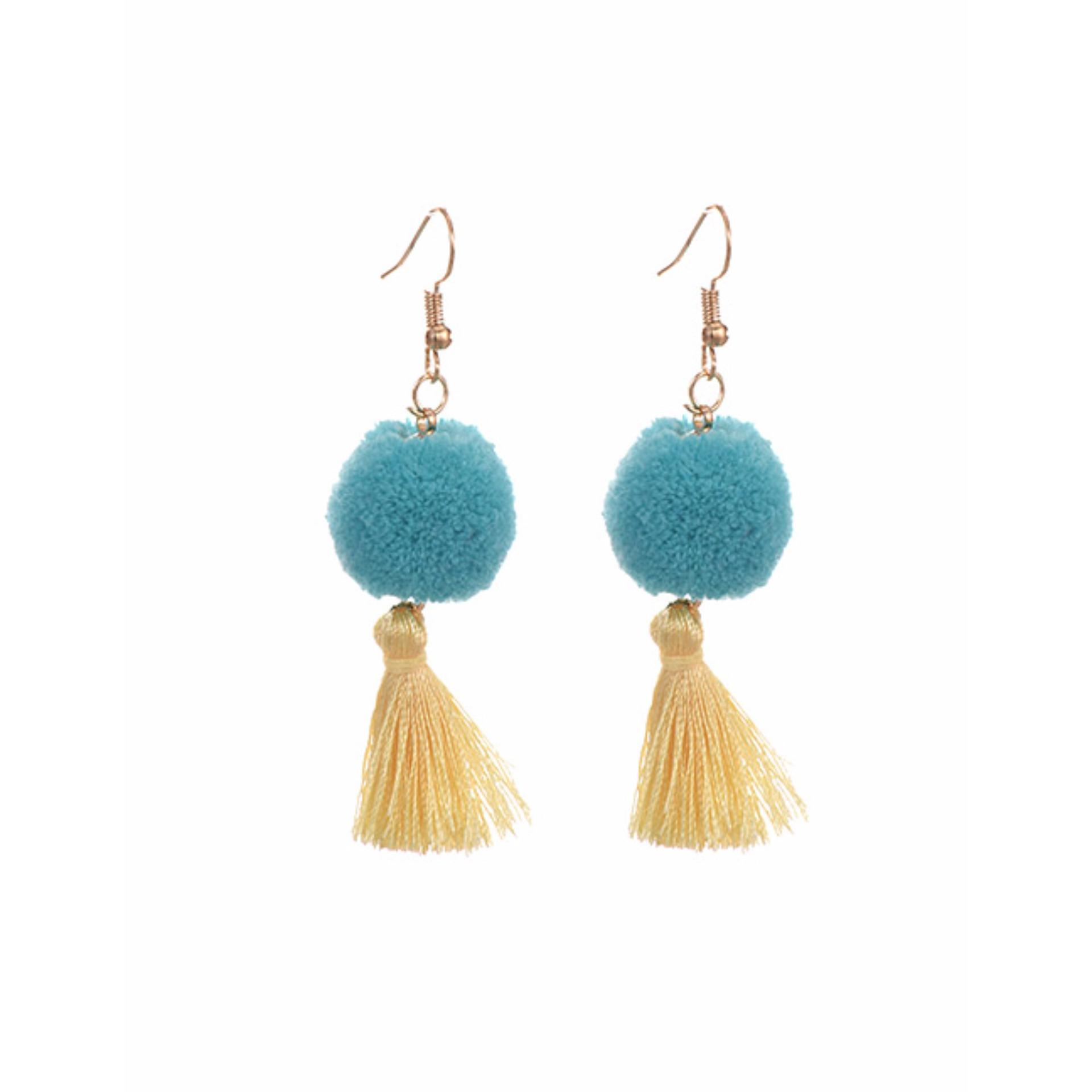 LRC Anting Blue Fuzzy Ball&tassel Decorated Simple Earrings