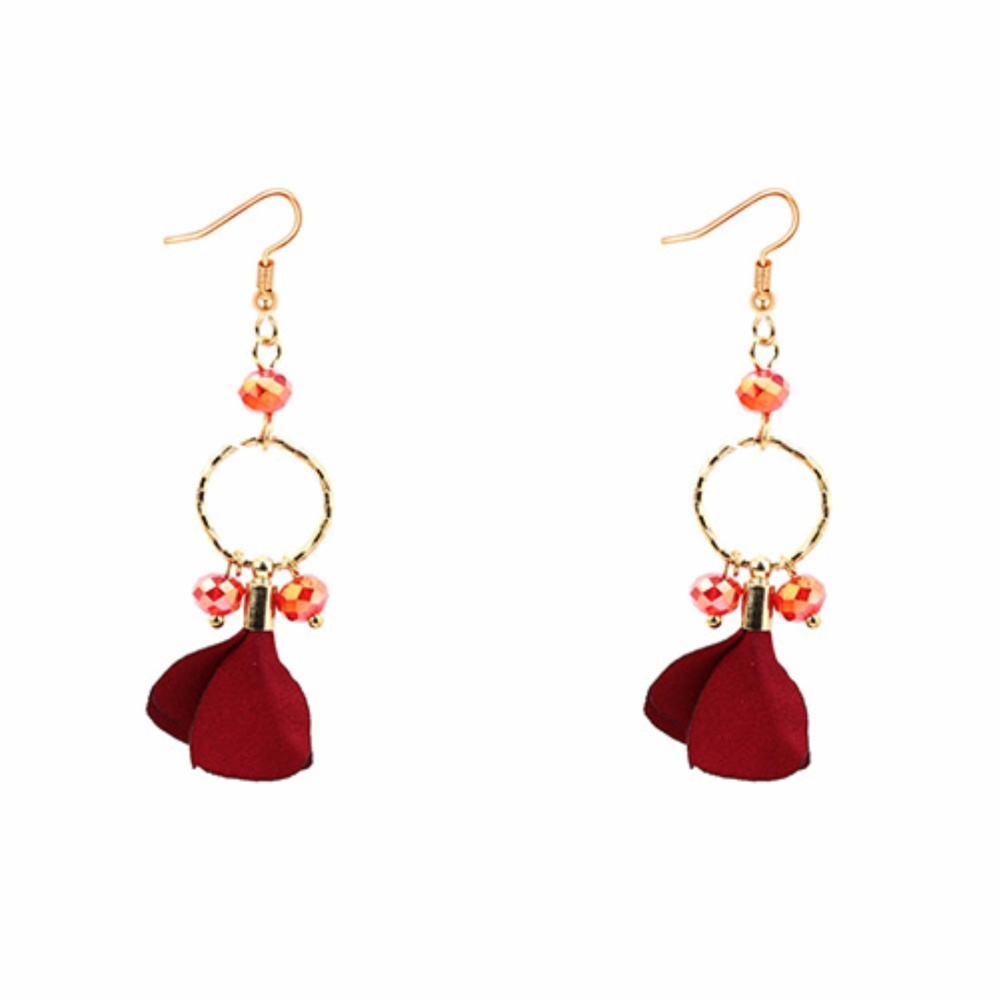 LRC Anting Gantung Elegant Petal Shape Decorated Earrings