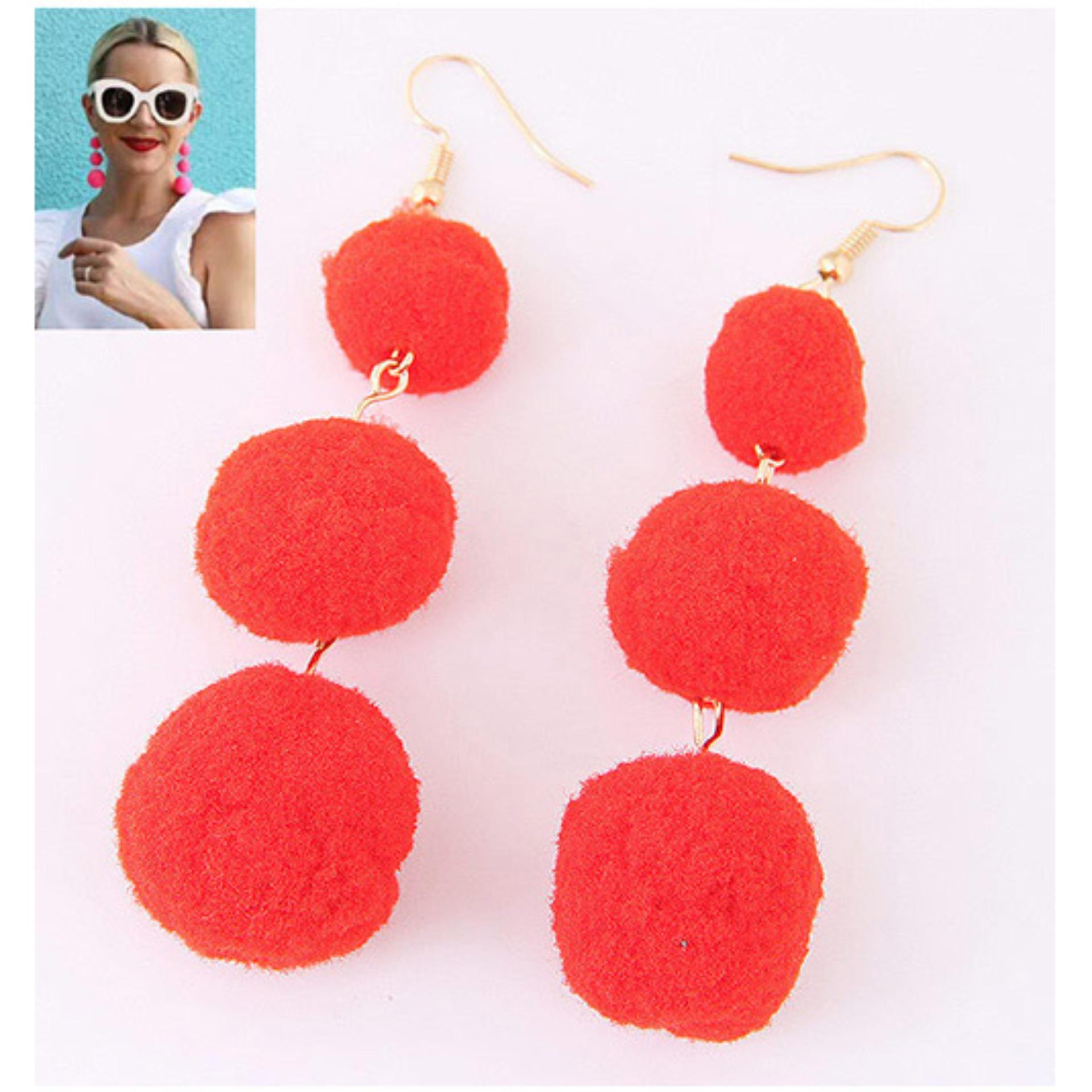 LRC Anting Gantung Fashion Ball Decorated Simple Pom Earrings