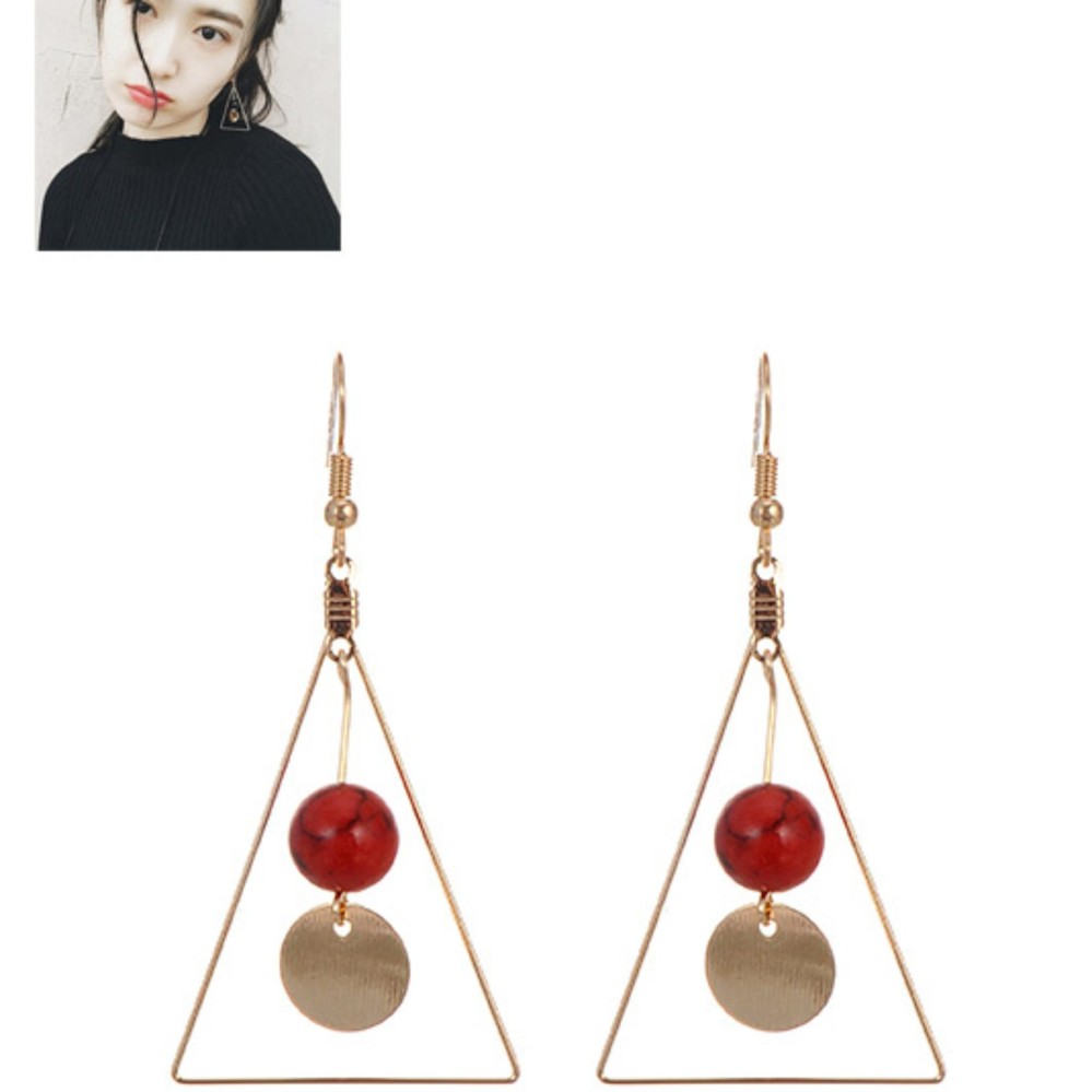 LRC Anting Gantung Fashion Round Ball Pendant Decorated Triangle Shape Earrings