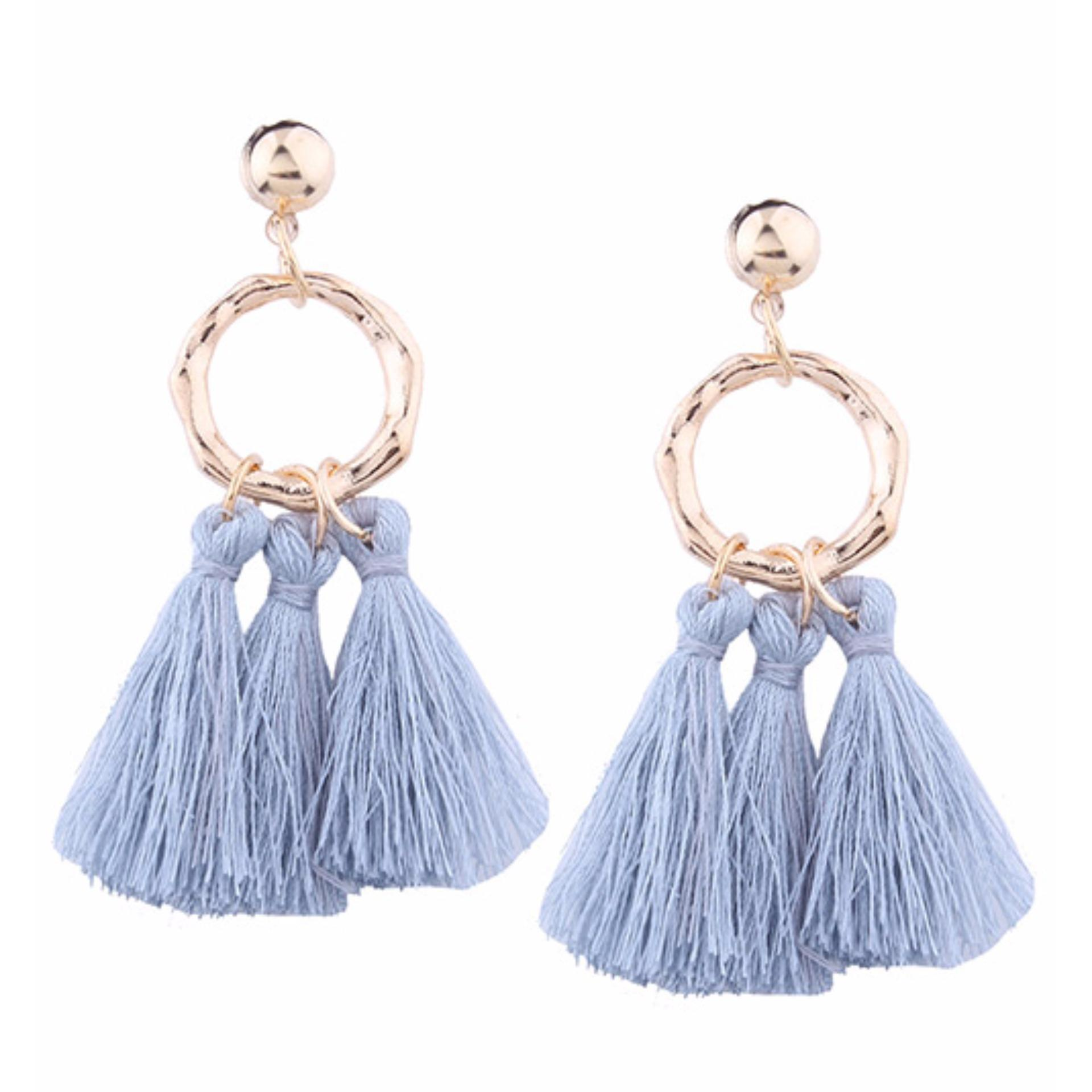 LRC Anting Tusuk Bohemia Tassel Decorated Earrings