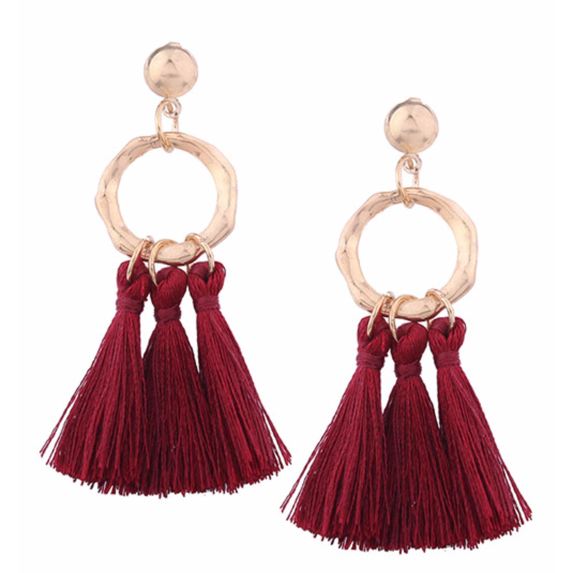 LRC Anting Tusuk Bohemia Tassel Decorated Earrings