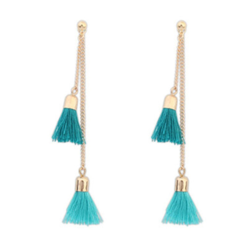 Lrc Anting Tusuk Bohemia Tassel Decorated Simple Design Alloy Stud Earrings By Toko Aksesoris Online.