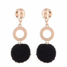 LRC Anting Tusuk Fashion Black Fuzzy Ball Pendant Decorated Color Matching Earrings