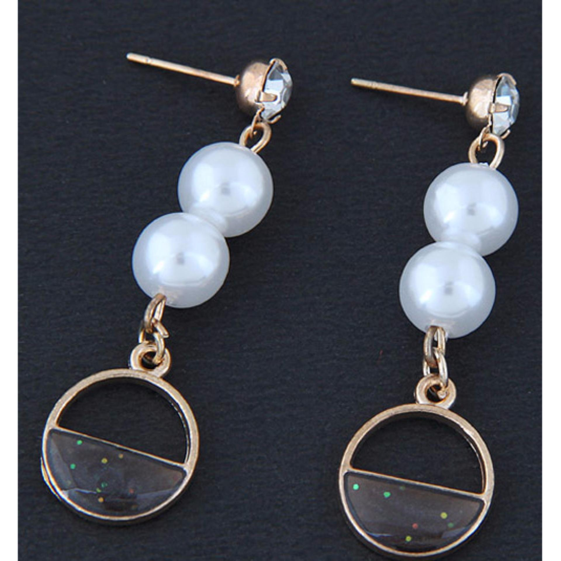 LRC Anting Tusuk Fashion Diamond&pearl Decorated Earrings