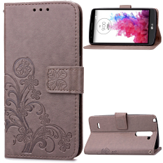 Lucky Clover With Magnetic Penutupan PU Kulit Case For LG G3 Stylus D690 (abu-