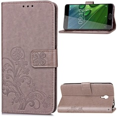 Lucky Clover PU Kulit Flip Magnet Dompet Dudukan Slot Kartu Pelindung Cover untuk Acer Liquid Z6 Plus 5.5