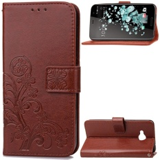 Lucky Clover PU Leather Flip Magnet Wallet Stand Card Slots Protective Case Cover for HTC U Play (Black) - intl