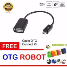 Lucky - OTG Cable Connection Kit Mobile Phone / Kabel OTG - Hitam + OTG Adapter