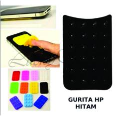 Lucky - Tempelan Belakang HP Stand Holder Gurita Universal 24 Tentakel Perekat Handphone - Hitam