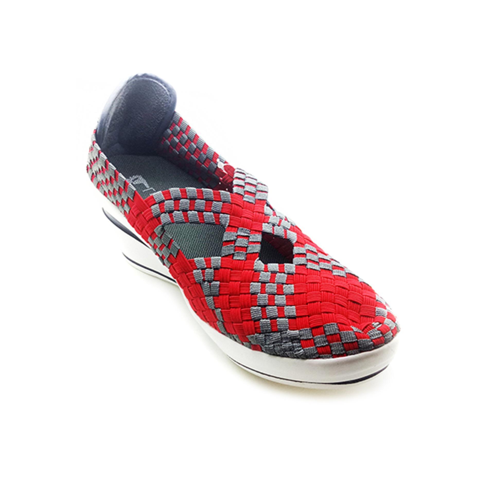 Lulia Wedges Sepatu Rajut Vs3222 Merah Asli