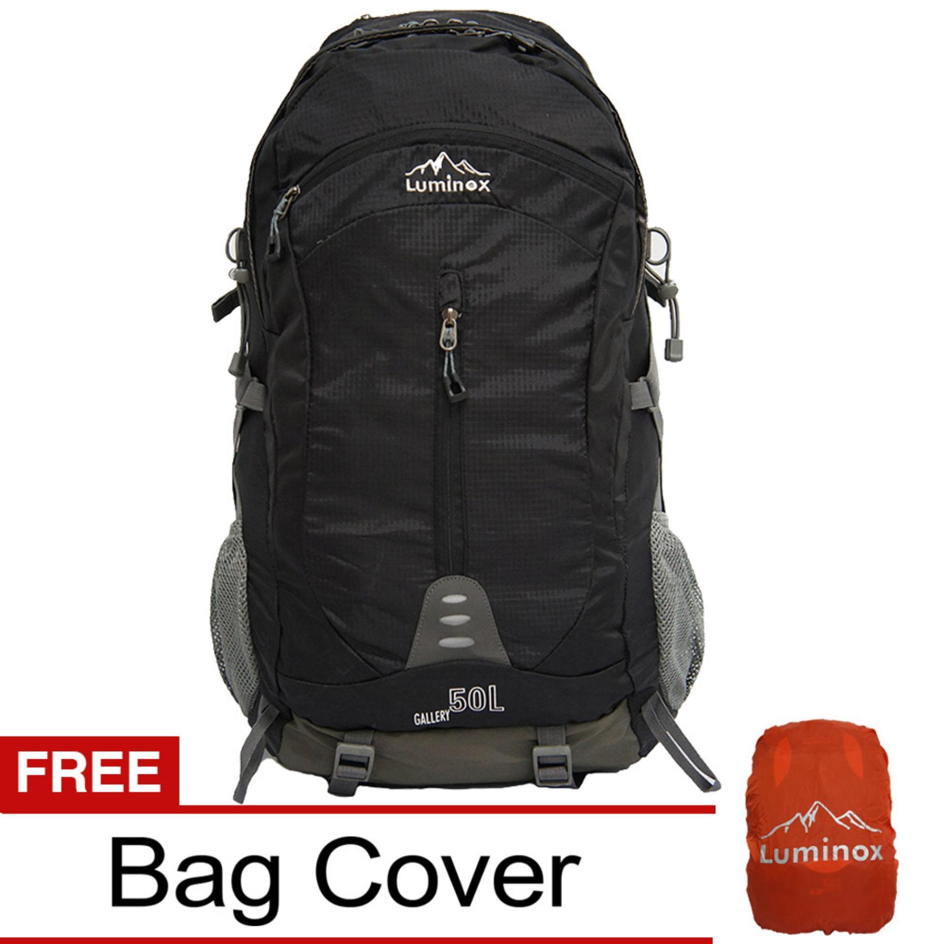 Spesifikasi Luminox Tas Hiking Backpack Ransel Travel Outdoor Carrier 5029 50 Liter Gratis Rain Cover Hitam Hk Luminox