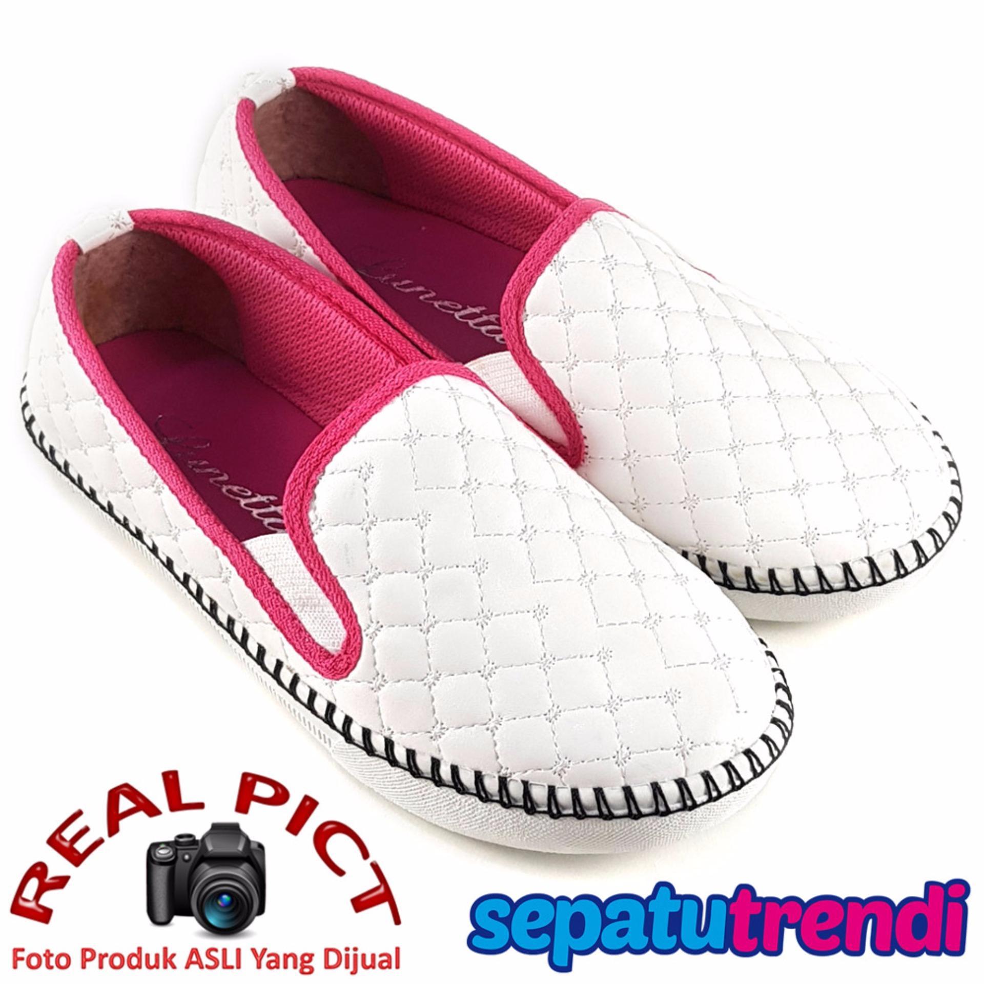 Toko Lunetta Sepatu Anak Perempuan Slip On Sol Rajut Rjag Putih Online Terpercaya