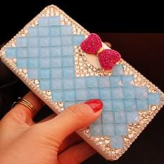 Mewah Handmade Rhinestone Diamond Leather Wallet Cover Case untuk HTC Butterfly 2/B810X-Intl