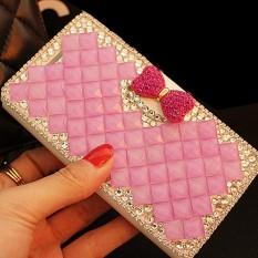 Mewah Handmade Rhinestone Diamond Leather Wallet Cover Case untuk Lenovo VIBE X2 Pro-Intl